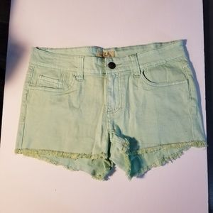 NWOT Lost Mint Green Junior Frayed Jean Shorts 7